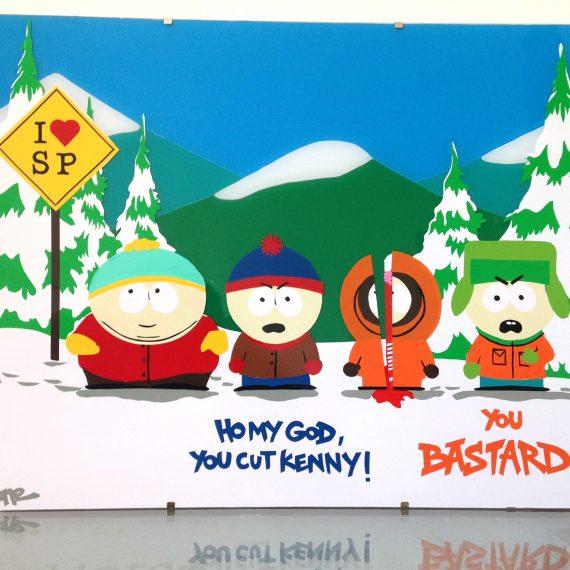 South Park, 30 x 40 cm, vitrauphanie sur verre.