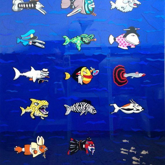 Fishes, 70 x 100 cm, vitrauphanie sur verre.