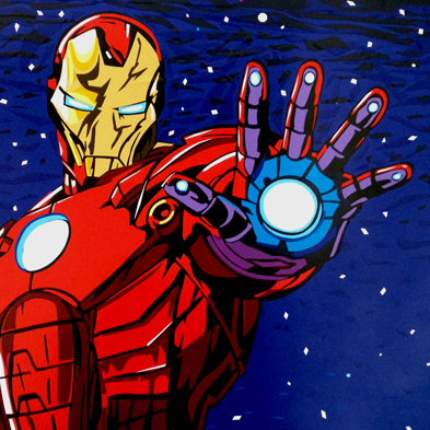 Ironman tape art collage